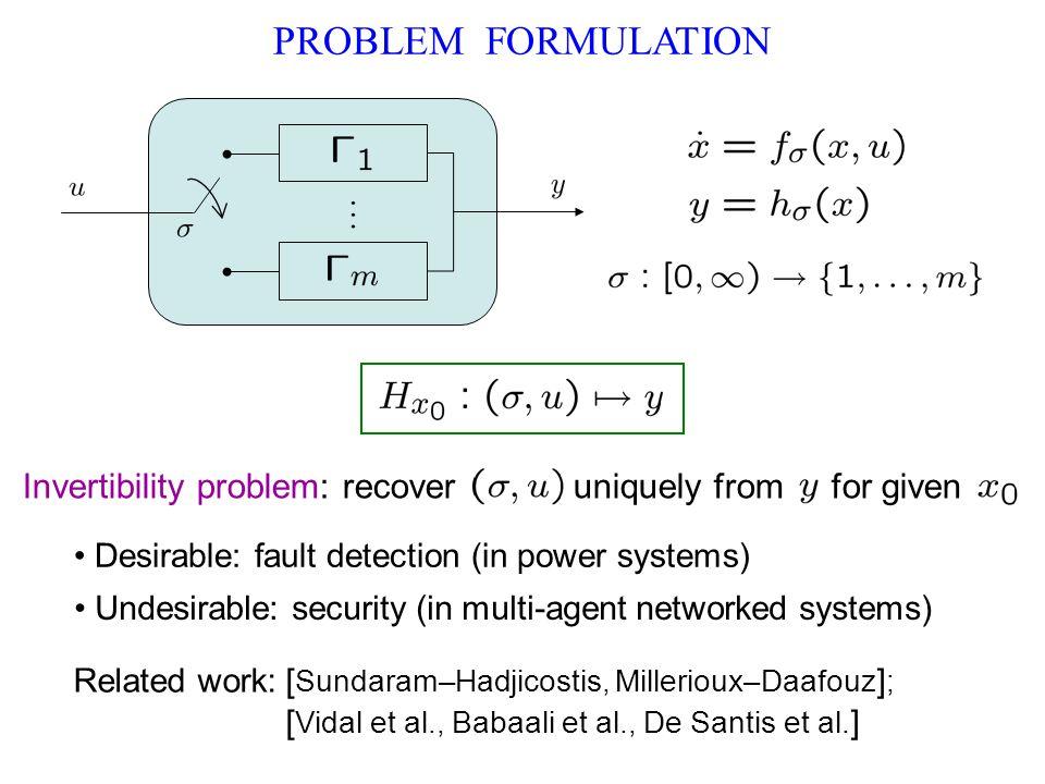 PROBLEM FORMULATION Invertibility problem: recover uniquely from for given Desirable: fault detection (in power systems) Related work: [ Sundaram–Hadjicostis, Millerioux–Daafouz ] ; [ Vidal et al., Babaali et al., De Santis et al.