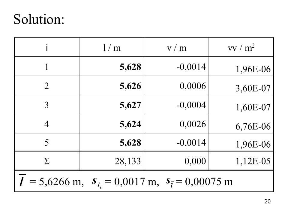 Solution: i l / mv / mvv / m 2 15,628-0,0014 1,96E-06 25,6260,0006 3,60E-07 35,627-0,0004 1,60E-07 45,6240,0026 6,76E-06 55,628-0,0014 1,96E-06  28,1330,0001,12E-05 = 5,6266 m, = 0,0017 m, = 0,00075 m 20