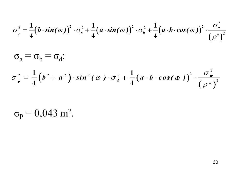 σ a = σ b = σ d : σ P = 0,043 m 2. 30
