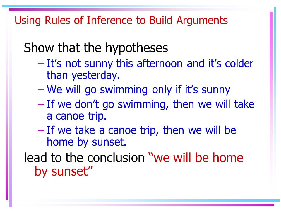 Using Rules of Inference to Build Arguments Show that the hypotheses –It's not sunny this afternoon and it's colder than yesterday.