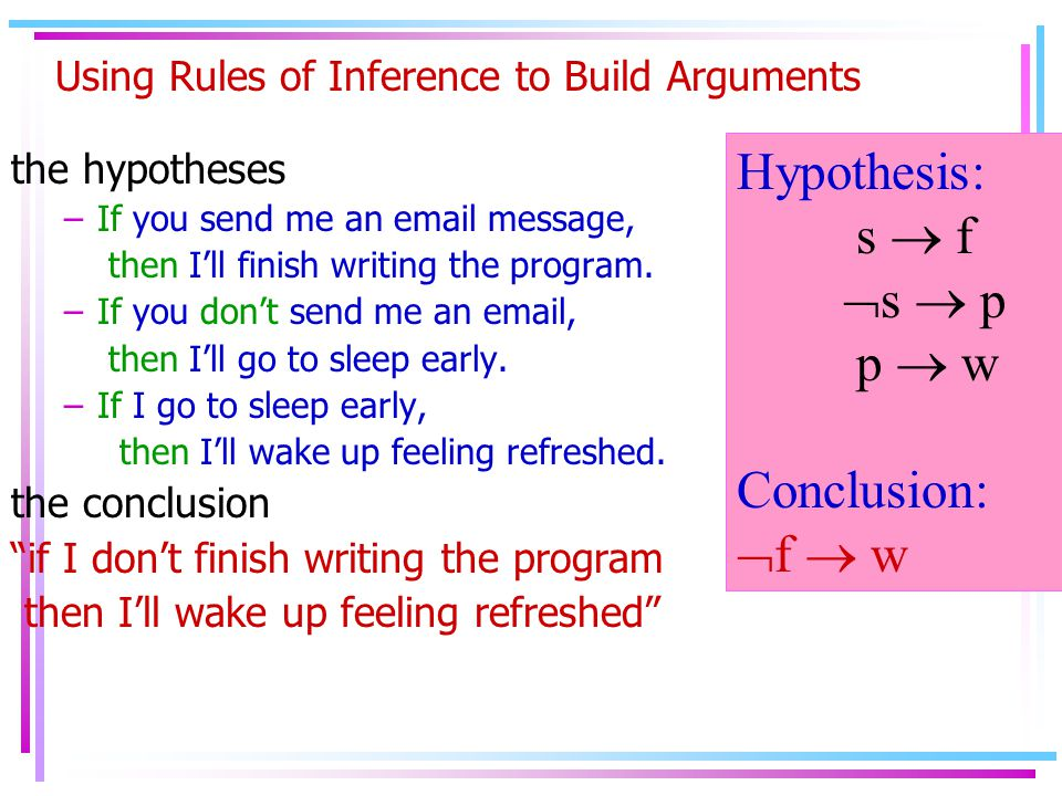 Using Rules of Inference to Build Arguments the hypotheses –If you send me an email message, then I'll finish writing the program.
