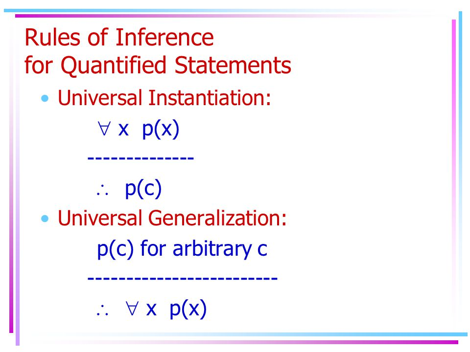 Rules of Inference for Quantified Statements Universal Instantiation:  x p(x) --------------  p(c) Universal Generalization: p(c) for arbitrary c -------------------------   x p(x)