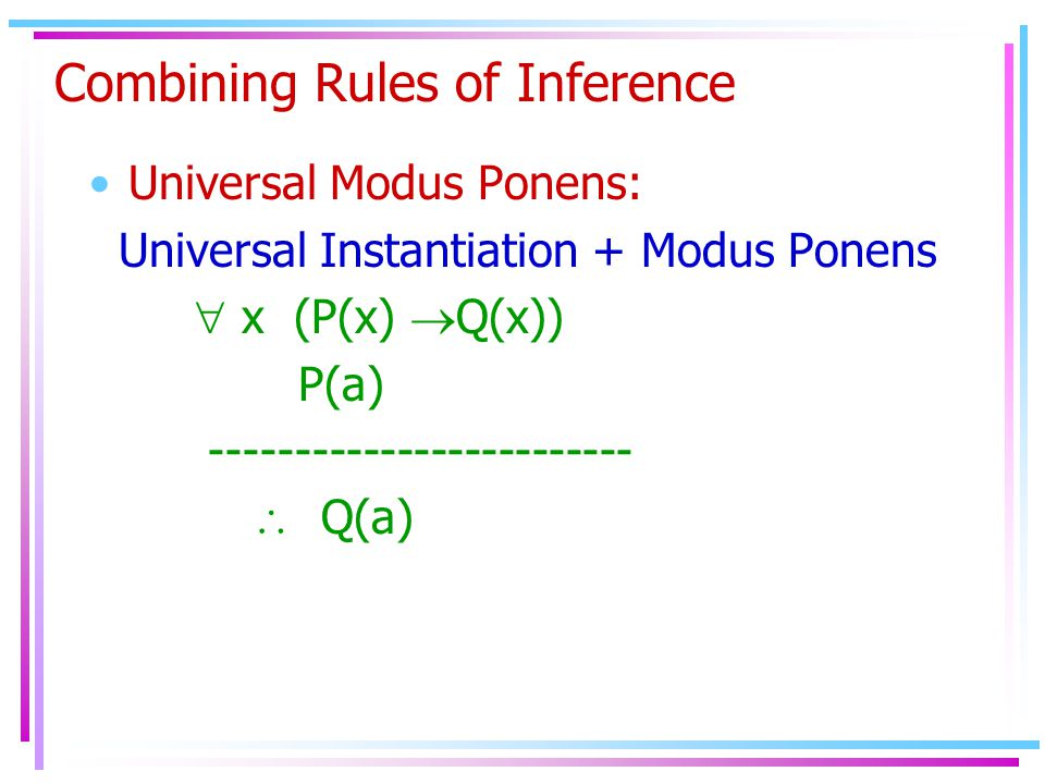 Combining Rules of Inference Universal Modus Ponens: Universal Instantiation + Modus Ponens  x (P(x)  Q(x)) P(a) -------------------------  Q(a)