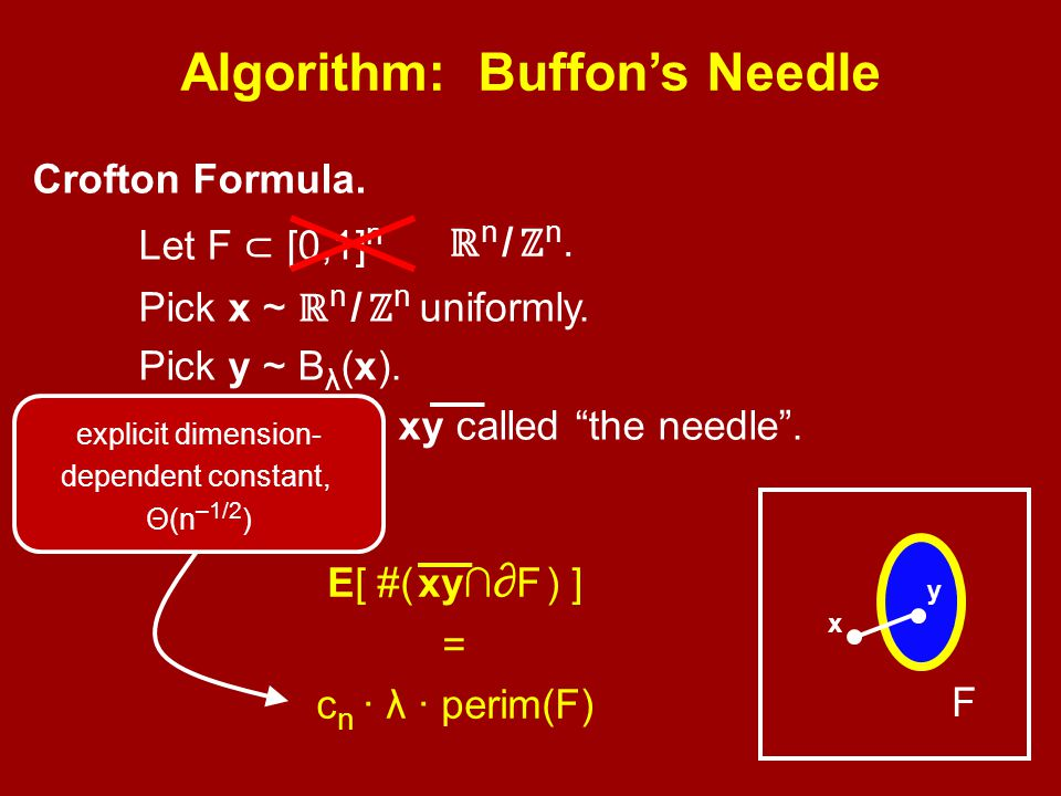 Algorithm: Buffon's Needle Crofton Formula. Let F ⊂ [0,1] n Pick x ~ ℝ n / ℤ n uniformly.