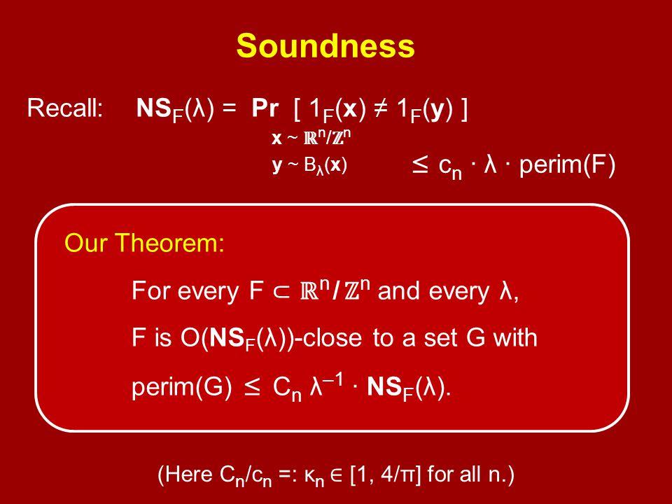 Recall: NS F (λ) = Pr [ 1 F (x) ≠ 1 F (y) ] x ~ ℝ n / ℤ n y ~ B λ (x) ' ≤ c n · λ · perim(F) Soundness? Our Theorem: For every F ⊂ ℝ n / ℤ n and every