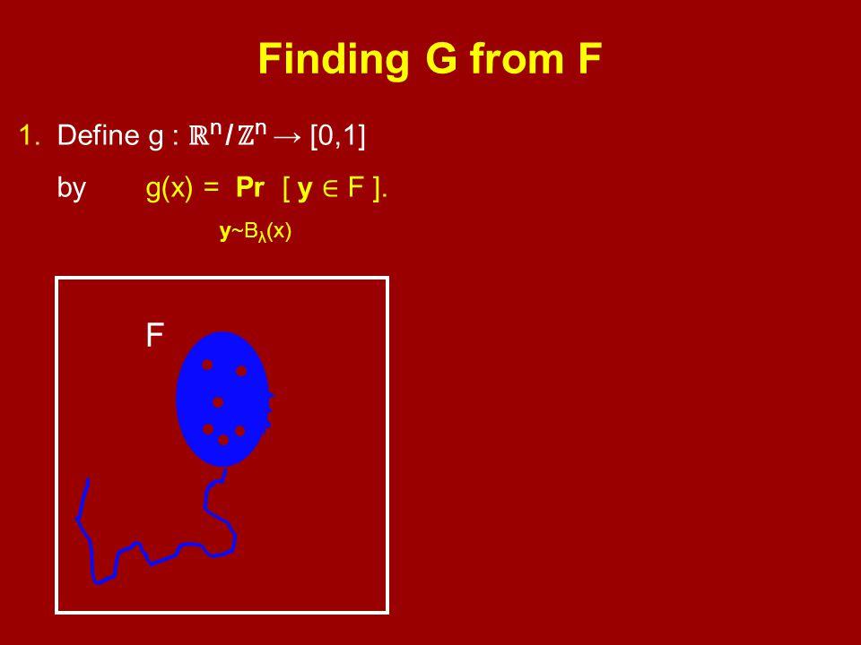 1. Define g : ℝ n / ℤ n → [0,1] by y~B λ (x) g(x) = Pr [ y ∈ F ]. F
