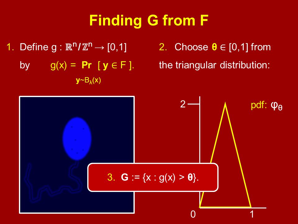Finding G from F 1. Define g : ℝ n / ℤ n → [0,1] by y~B λ (x) g(x) = Pr [ y ∈ F ].