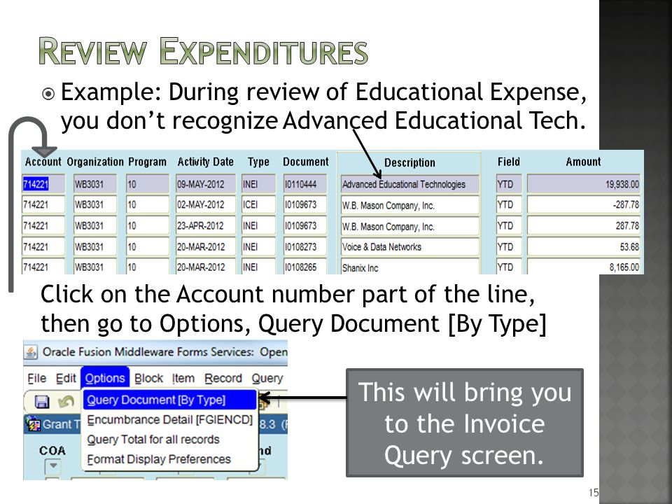  Example: During review of Educational Expense, you don't recognize Advanced Educational Tech.