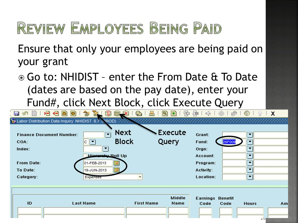 Ensure that only your employees are being paid on your grant  Go to: NHIDIST – enter the From Date & To Date (dates are based on the pay date), enter your Fund#, click Next Block, click Execute Query 20 Next Execute Block Query