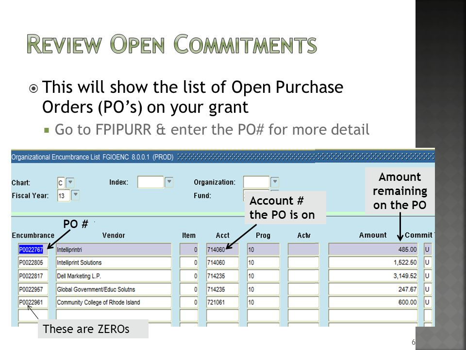  This will show the list of Open Purchase Orders (PO's) on your grant  Go to FPIPURR & enter the PO# for more detail PO # Account # the PO is on Amount remaining on the PO These are ZEROs 6