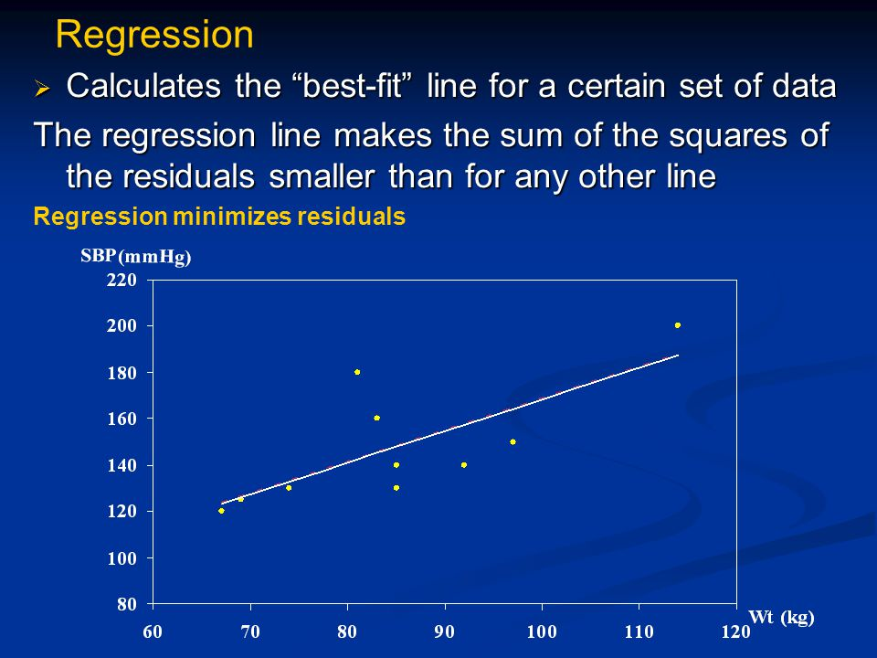 Regression  Calculates the best-fit line for a certain set of data The regression line makes the sum of the squares of the residuals smaller than for any other line Regression minimizes residuals