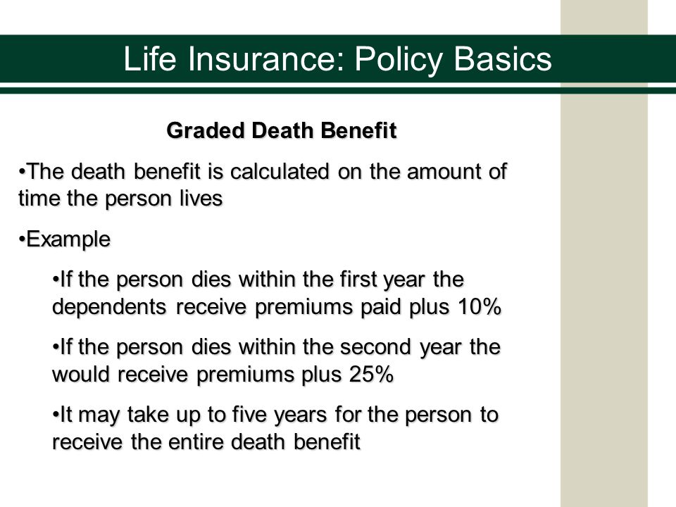 Life Insurance: Policy Basics Graded Death Benefit The death benefit is calculated on the amount of time the person livesThe death benefit is calculat