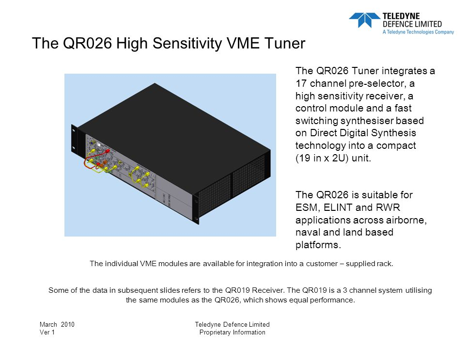 March 2010 Ver 1 Teledyne Defence Limited Proprietary Information RF Input Match Shall not exceed 2.5:1 (equivalent to –7.36dB Return Loss)