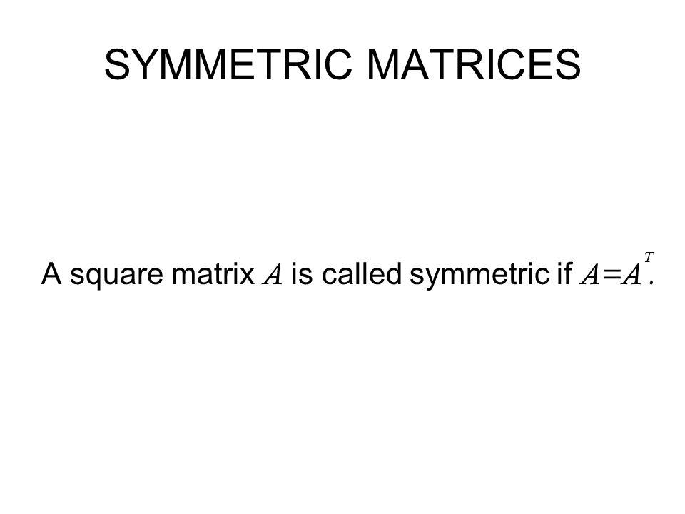 SYMMETRIC MATRICES A square matrix A is called symmetric if A=A. T
