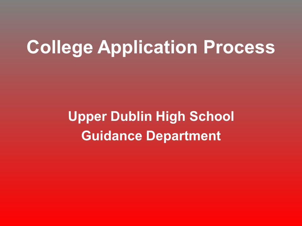 College Application Process Upper Dublin High School Guidance Department