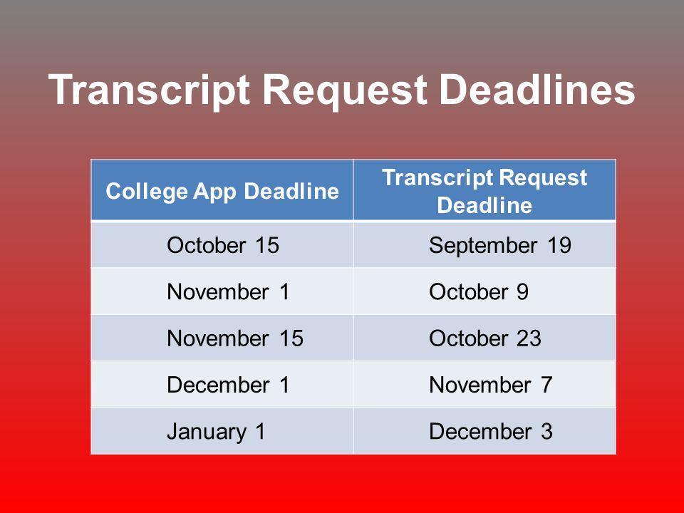 Transcript Request Deadlines College App Deadline Transcript Request Deadline October 15September 19 November 1October 9 November 15October 23 Decembe