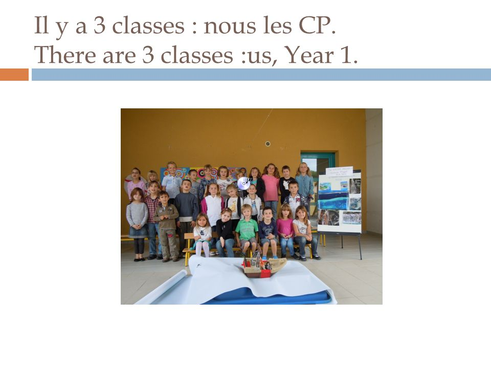 Il y a 3 classes : nous les CP. There are 3 classes :us, Year 1.