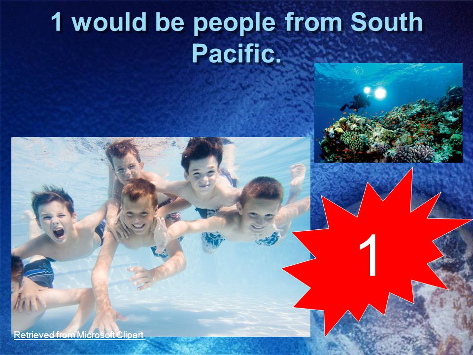 1 would be people from South Pacific. 1 Retrieved from Microsoft Clipart