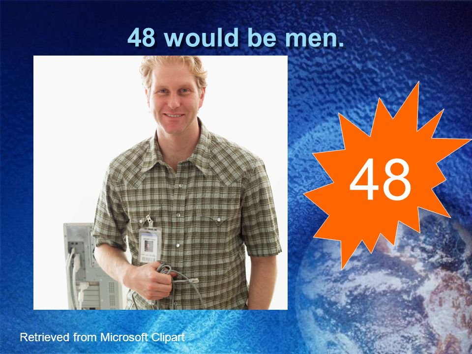 52 would be women. 52 Retrieved from Microsoft Clipart