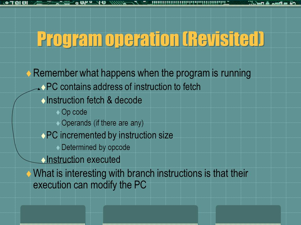 Program operation (Revisited)  Remember what happens when the program is running  PC contains address of instruction to fetch  Instruction fetch & decode  Op code  Operands (if there are any)  PC incremented by instruction size  Determined by opcode  Instruction executed  What is interesting with branch instructions is that their execution can modify the PC