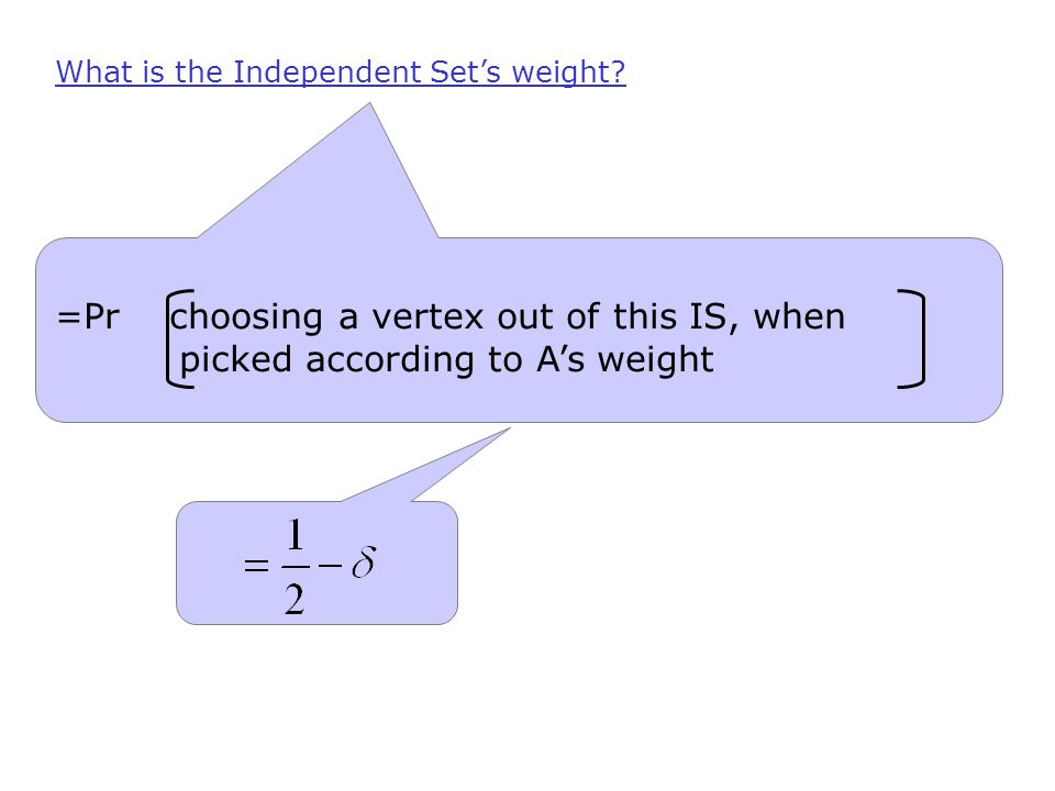 What is the Independent Set's weight.