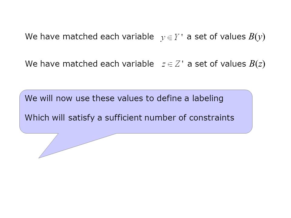 We have matched each variable a set of values B(y) We have matched each variable a set of values B(z) We will now use these values to define a labeling Which will satisfy a sufficient number of constraints
