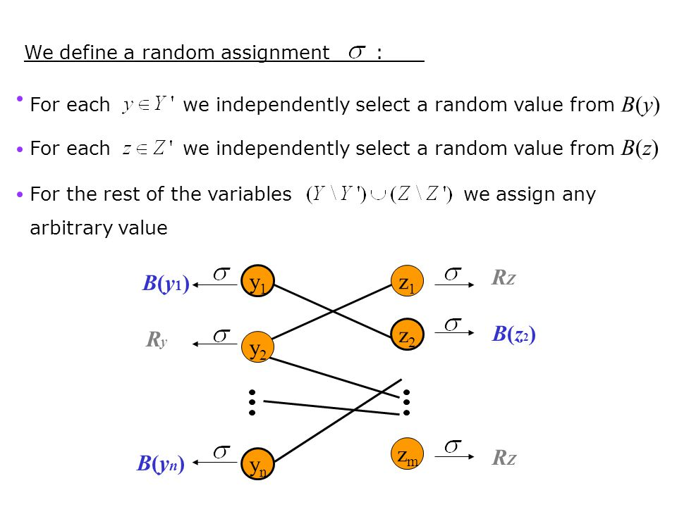 We define a random assignment : For each we independently select a random value from B(y) For each we independently select a random value from B(z) Fo