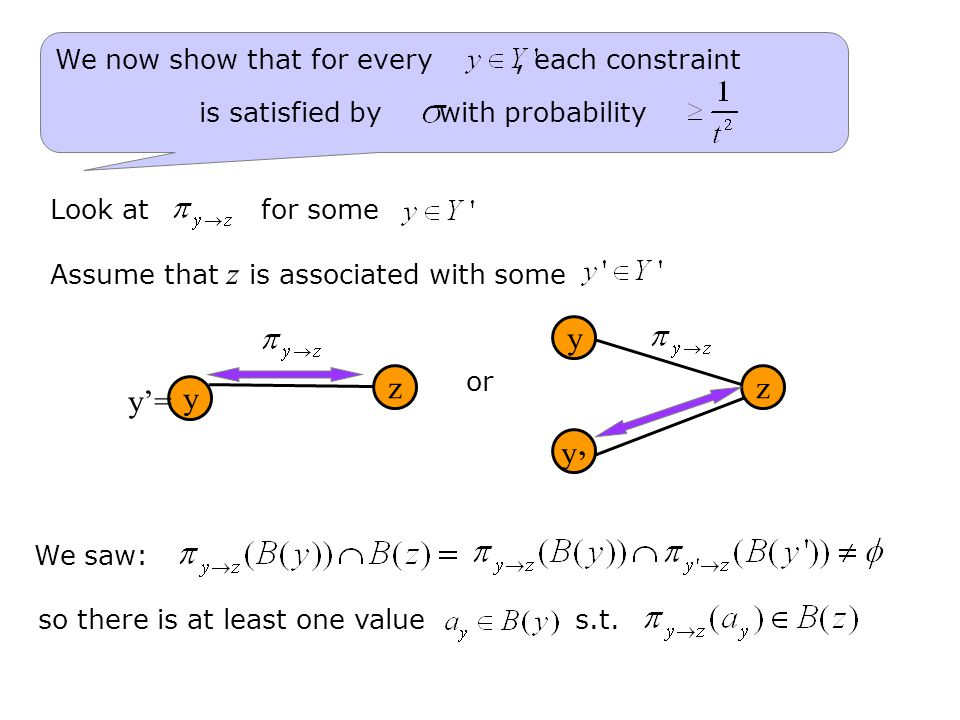 We now show that for every, each constraint is satisfied by with probability We saw: so there is at least one value s.t.