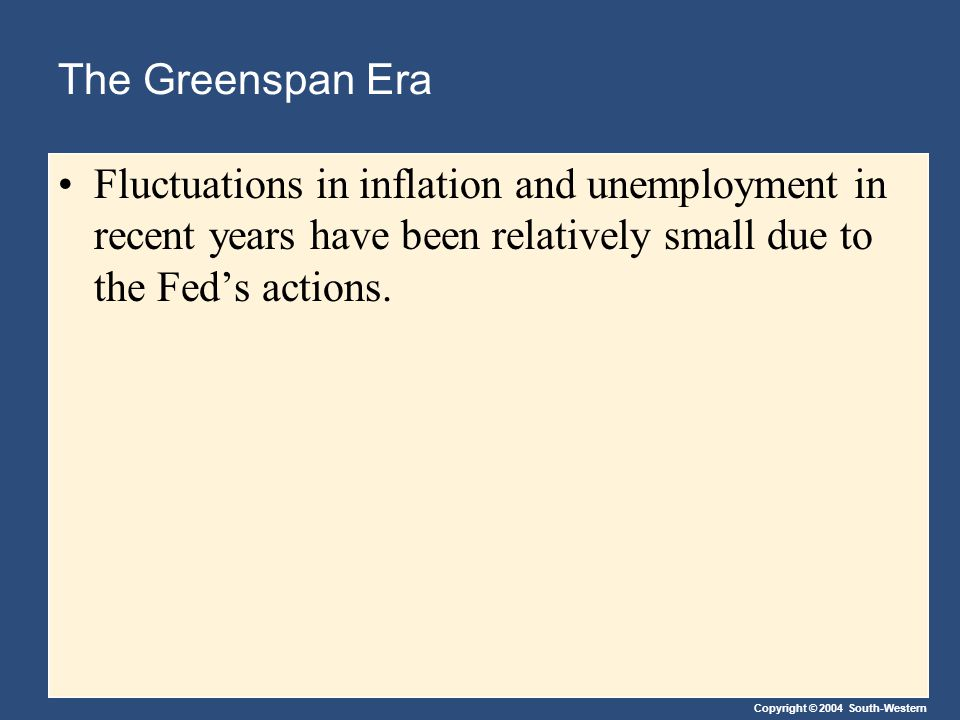 The Greenspan Era Fluctuations in inflation and unemployment in recent years have been relatively small due to the Fed's actions.