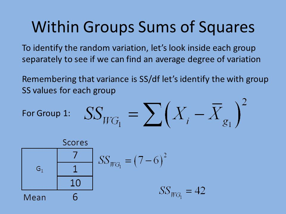 Within Groups Sums of Squares To identify the random variation, let's look inside each group separately to see if we can find an average degree of variation Remembering that variance is SS/df let's identify the with group SS values for each group For Group 1:
