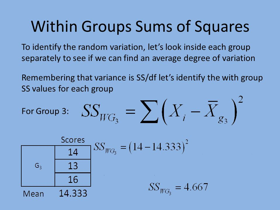 Within Groups Sums of Squares To identify the random variation, let's look inside each group separately to see if we can find an average degree of variation Remembering that variance is SS/df let's identify the with group SS values for each group For Group 3: