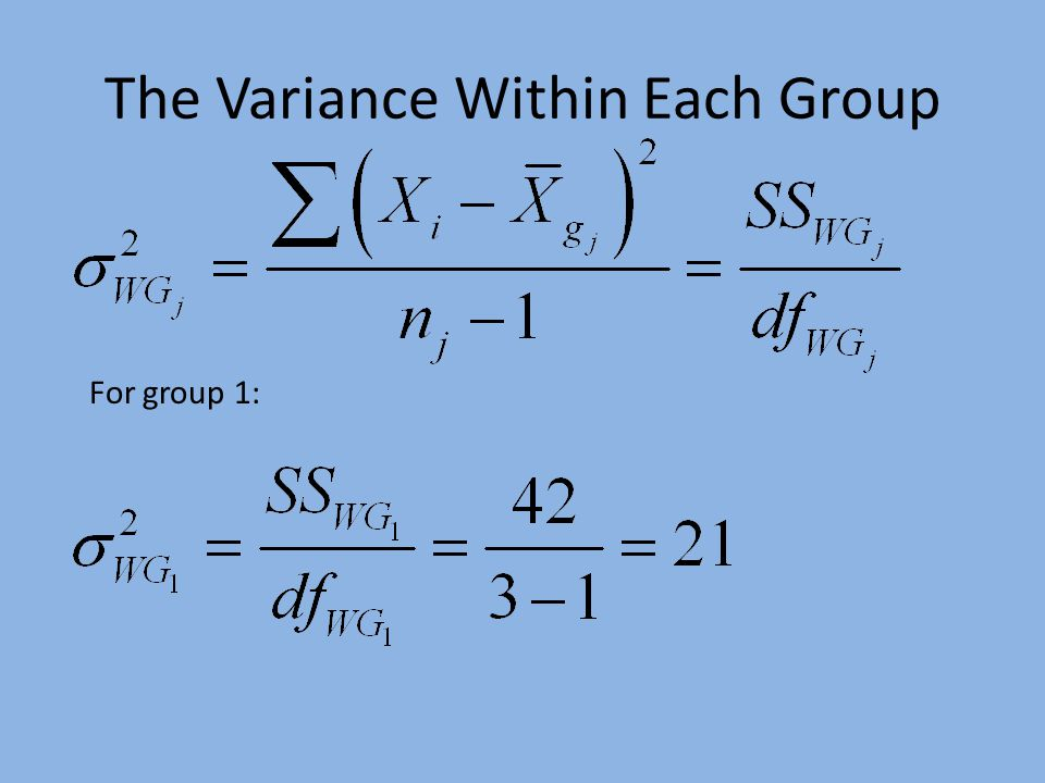 The Variance Within Each Group For group 1: