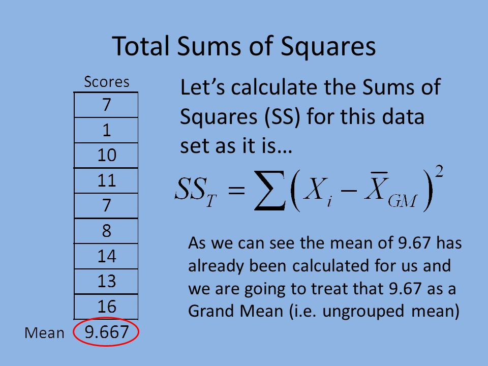Total Sums of Squares Let's calculate the Sums of Squares (SS) for this data set as it is… As we can see the mean of 9.67 has already been calculated