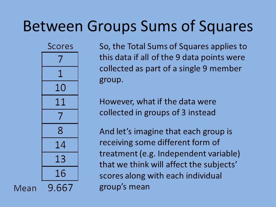 Between Groups Sums of Squares So, the Total Sums of Squares applies to this data if all of the 9 data points were collected as part of a single 9 member group.