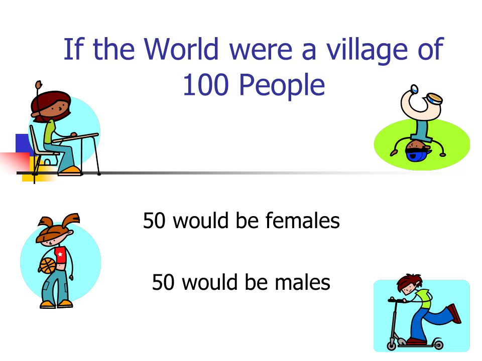 If the World were a village of 100 People 50 would be females 50 would be males
