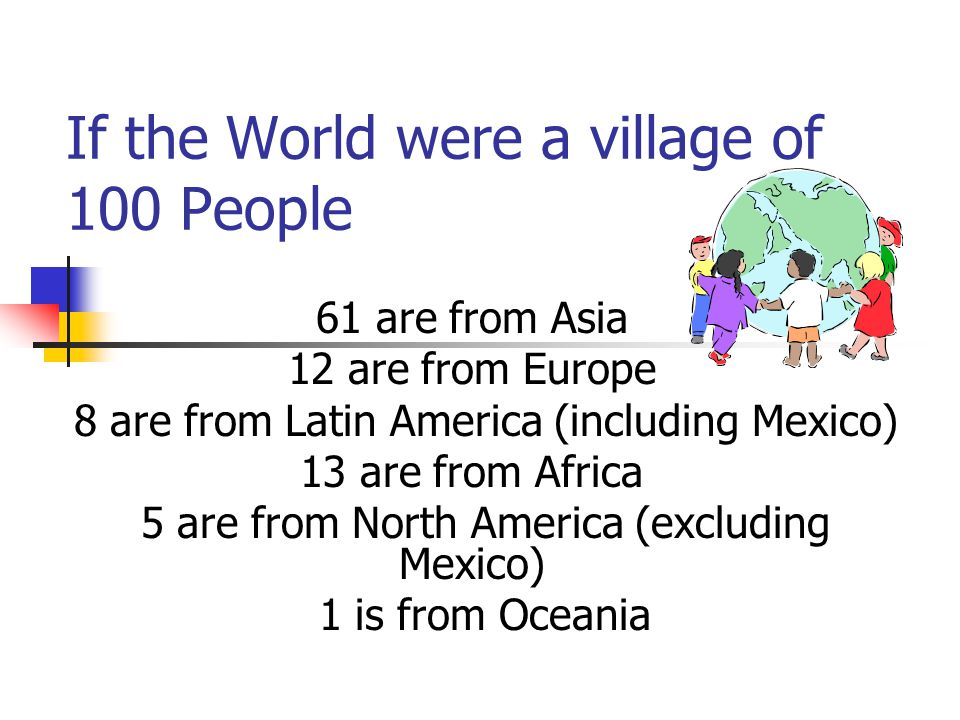 If the World were a village of 100 People 61 are from Asia 12 are from Europe 8 are from Latin America (including Mexico) 13 are from Africa 5 are fro