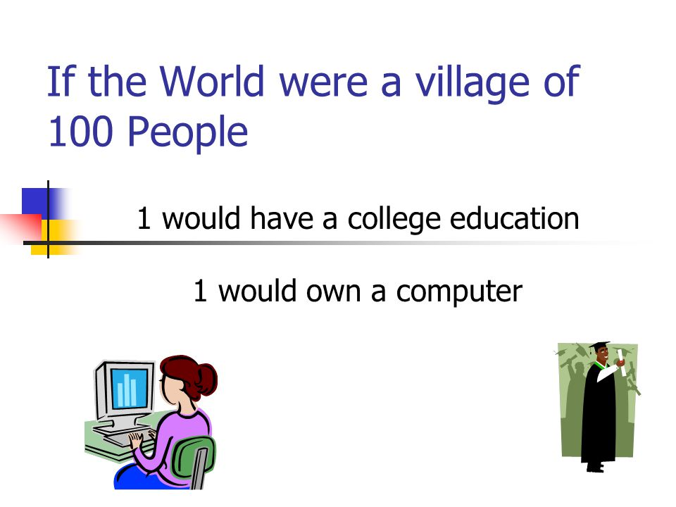 If the World were a village of 100 People 1 would have a college education 1 would own a computer