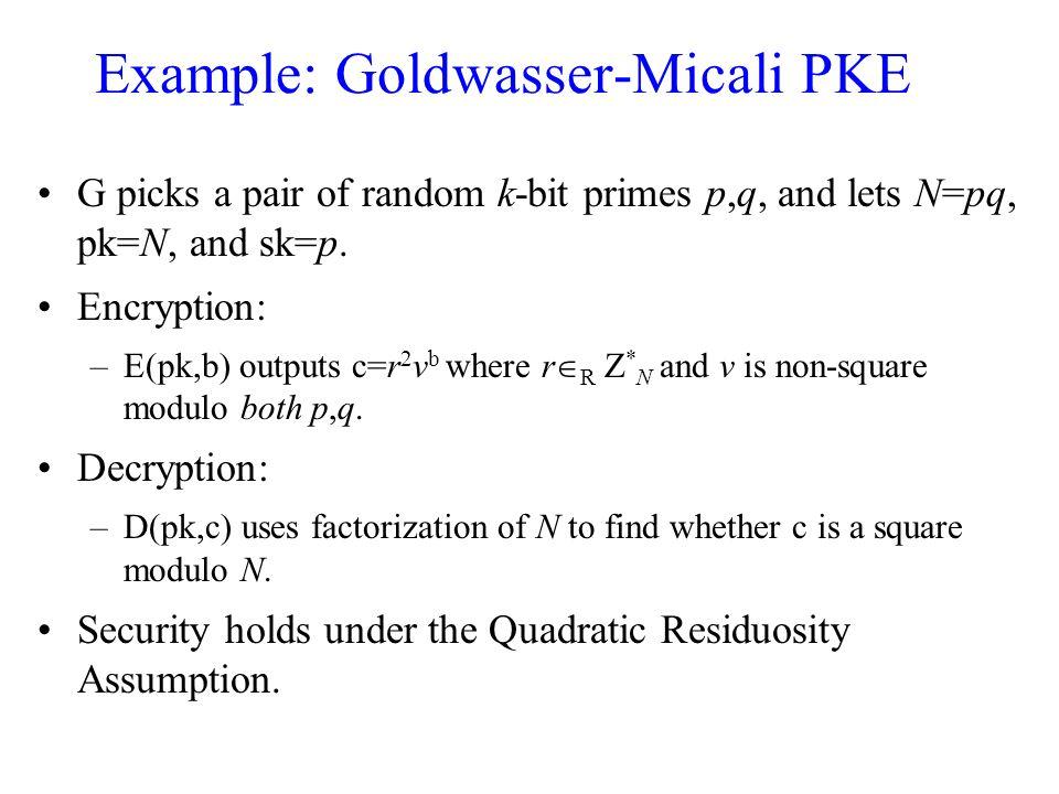 Example: Goldwasser-Micali PKE G picks a pair of random k-bit primes p,q, and lets N=pq, pk=N, and sk=p.