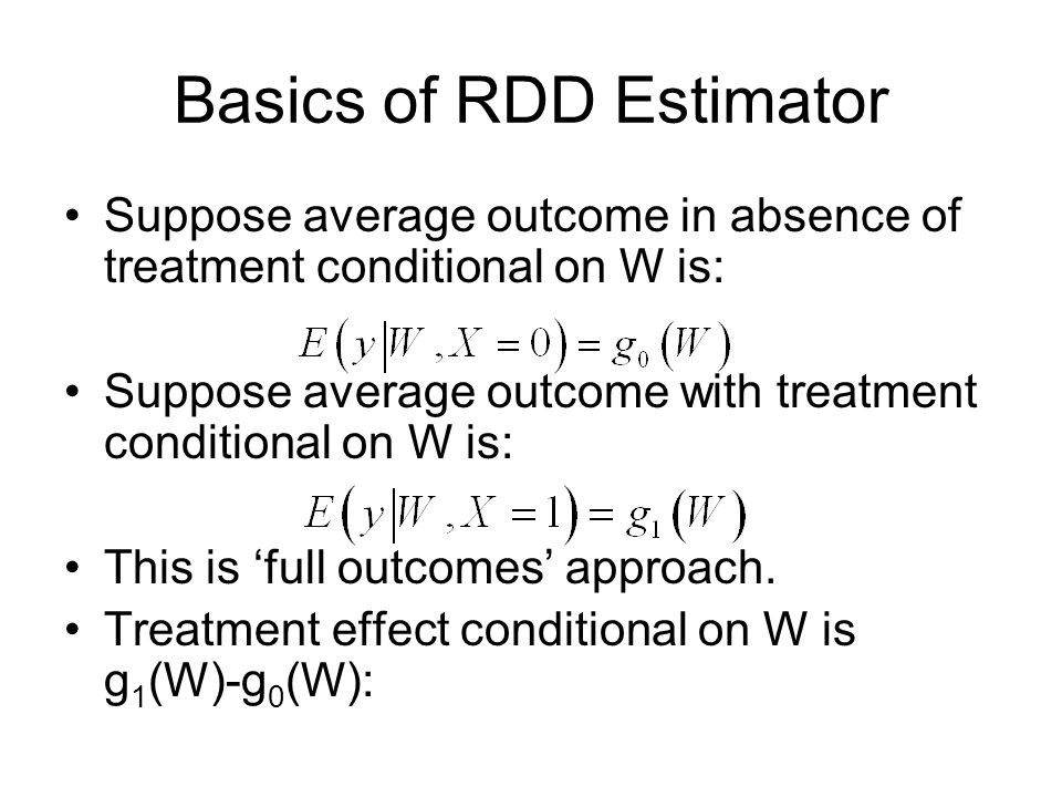 In practice it is usual for the researcher to summarize all the data in the graph of the outcome against W to get some idea of the appropriate functional forms and how wide a window should be chosen.