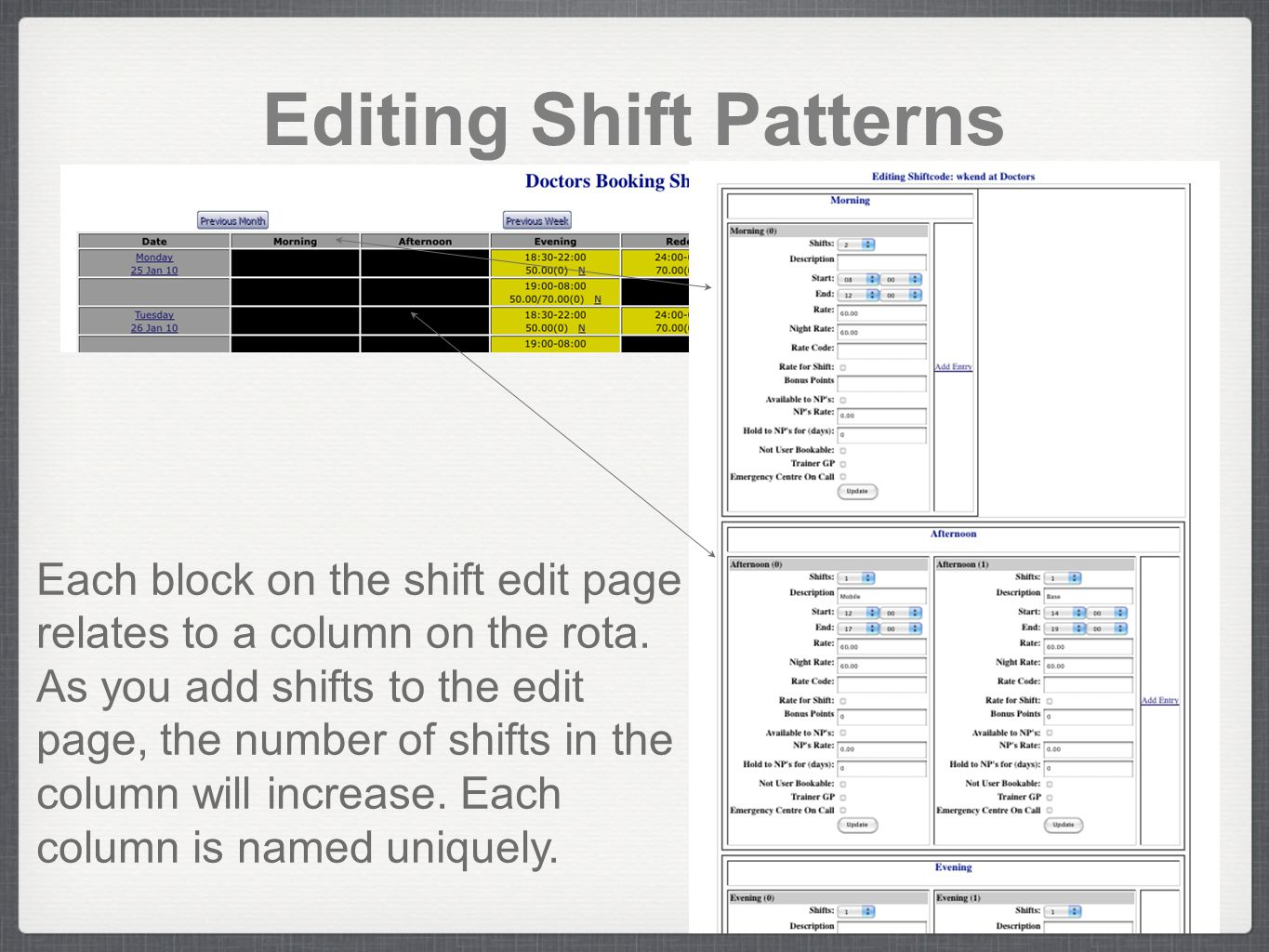 Editing Shift Patterns Each block on the shift edit page relates to a column on the rota. As you add shifts to the edit page, the number of shifts in