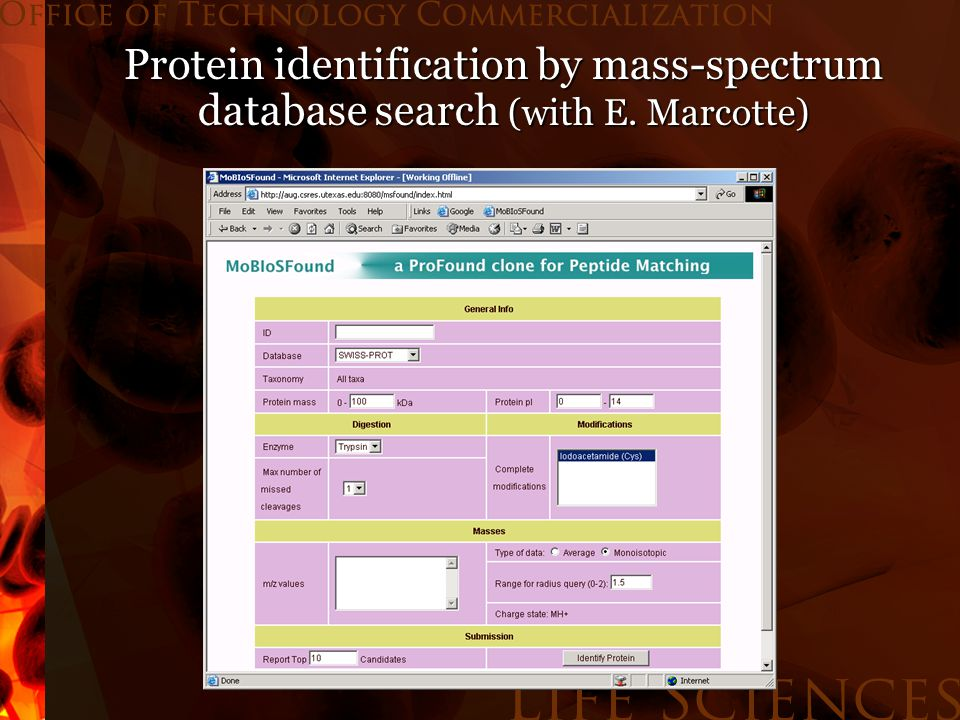 Protein identification by mass-spectrum database search (with E. Marcotte)