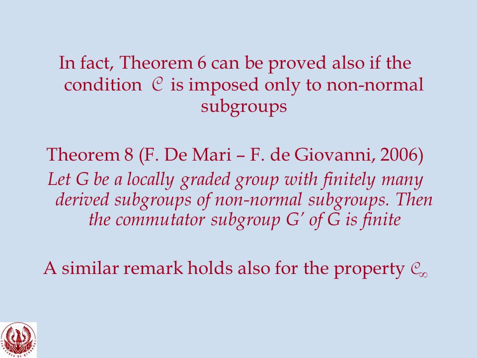 In fact, Theorem 6 can be proved also if the condition C is imposed only to non-normal subgroups Theorem 8 (F.