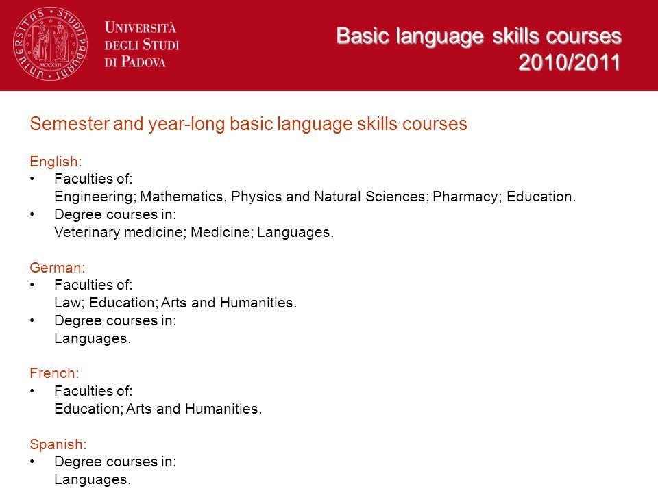 Basic language skills courses 2010/2011 Semester and year-long basic language skills courses English: Faculties of: Engineering; Mathematics, Physics and Natural Sciences; Pharmacy; Education.