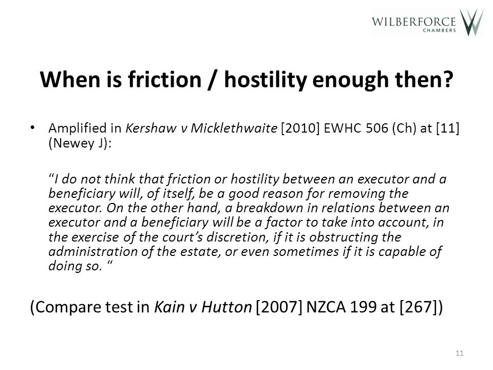 When is friction / hostility enough then.