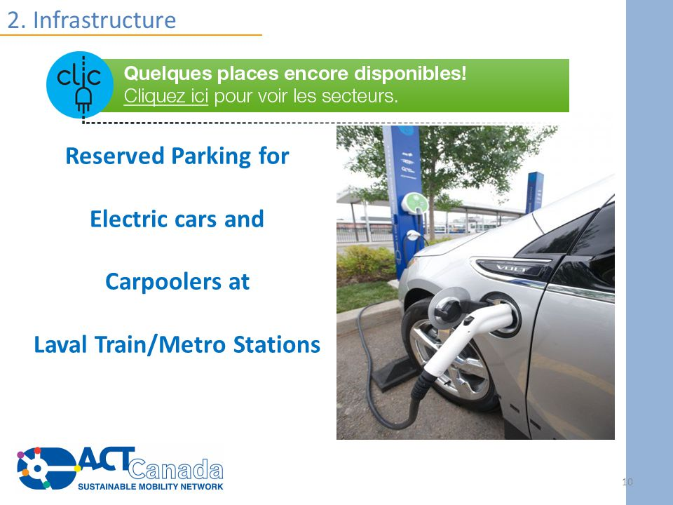 2. Infrastructure Reserved Parking for Electric cars and Carpoolers at Laval Train/Metro Stations 10