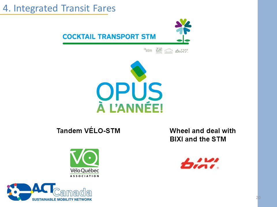 4. Integrated Transit Fares Tandem VÉLO-STMWheel and deal with BIXI and the STM 20