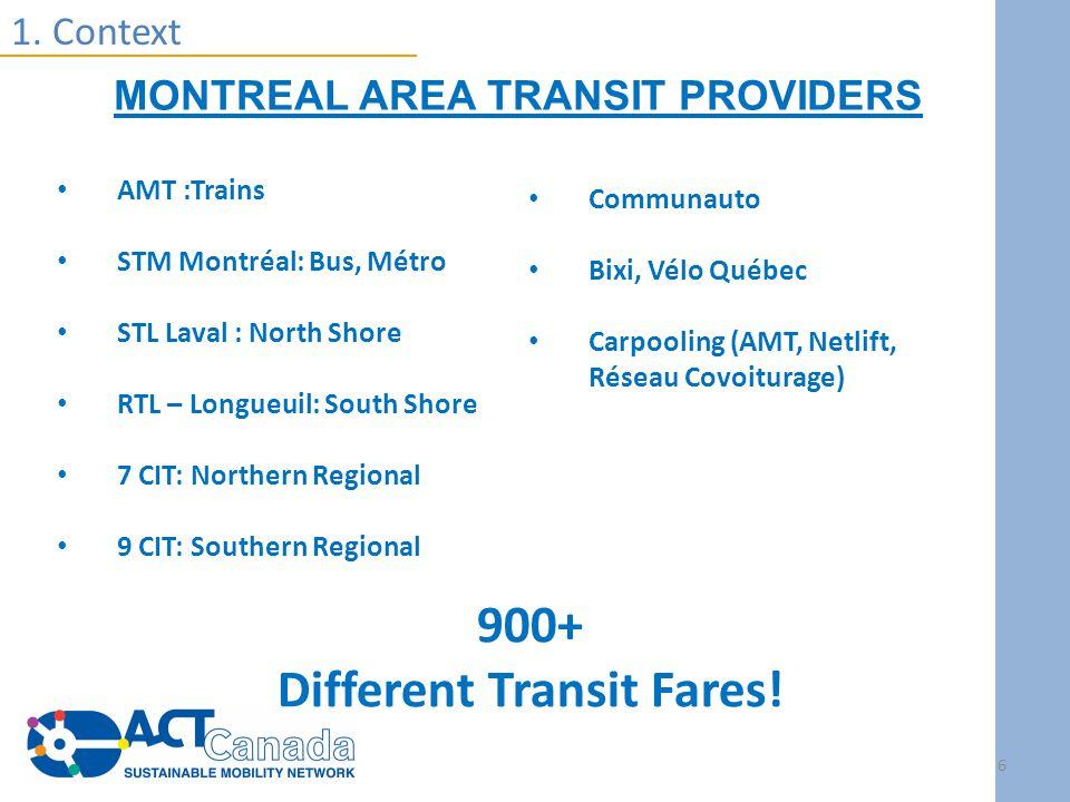 AMT :Trains STM Montréal: Bus, Métro STL Laval : North Shore RTL – Longueuil: South Shore 7 CIT: Northern Regional 9 CIT: Southern Regional 1.