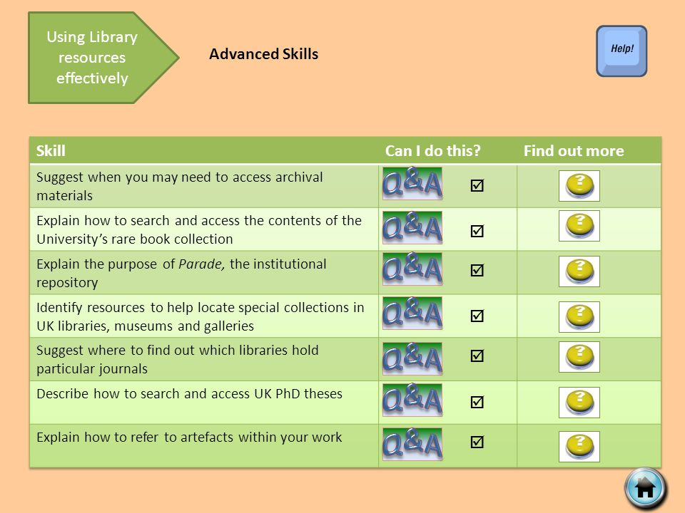        Using Library resources effectively Advanced Skills