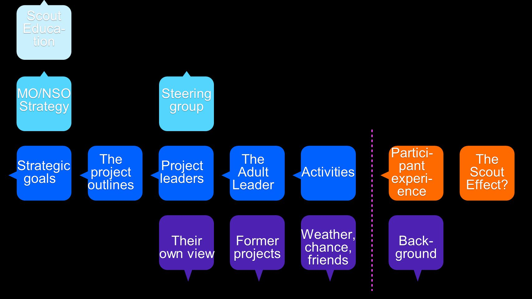 Partici- pant experi- ence The Adult Leader Projectleaders The project outlines Their own view Strategic goals Strategic goals Steering group Activiti