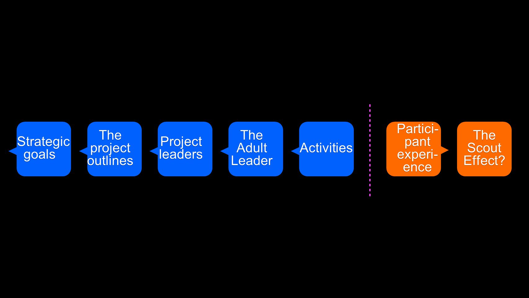 The Adult Leader Projectleaders The project outlines Strategic Strategicgoals Activities Activities Partici- pant experi- ence The Scout Effect